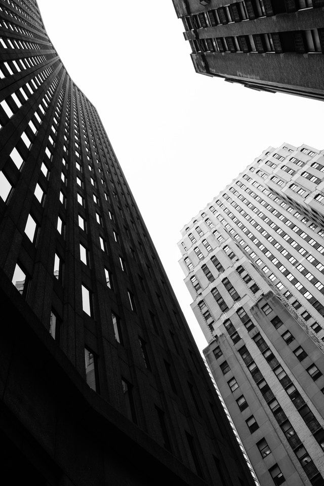 Looking up at buildings on Broad Street, in New York's Financial District.