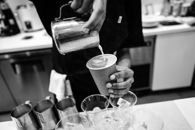 A barista preparing a cappuccino at Blue Bottle in Georgetown.