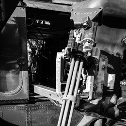 A minigun on an MH-60M helicopter at the DC Armory.