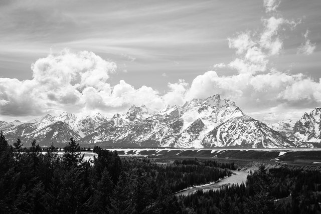 The Tetons, seen from the Snake River Overlook.