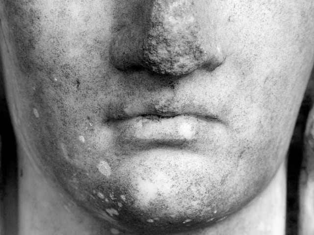 Detail of the nose and mouth of a statue at Vizcaya Museum & Gardens in Miami.