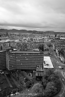 Southwest view of Edinburgh from Edinburgh Castle.