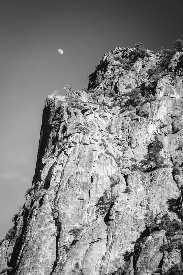 The moon over Yosemite National Park.