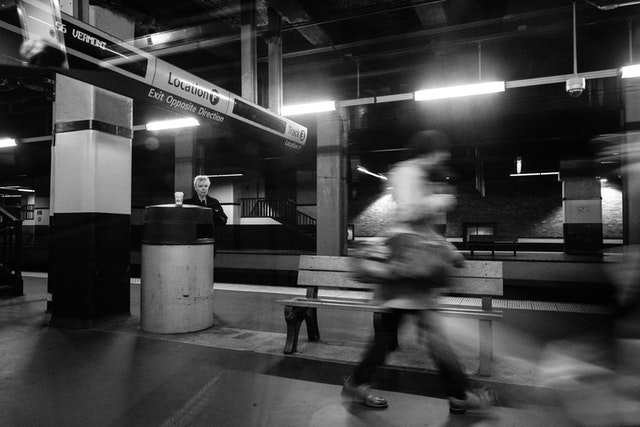 Two passengers on the platform at Philadelphia's 30th Street Station.