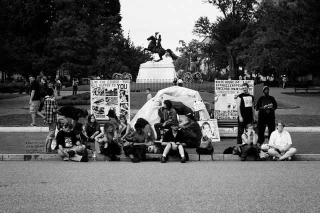 Occupy protesters in front of the White House.