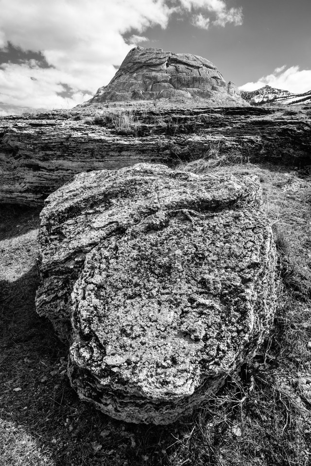 A huge calcified boulder in front of Soda Butte in the Lamar Valley.