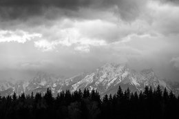 The Teton Range behind a line of trees and storm clouds.