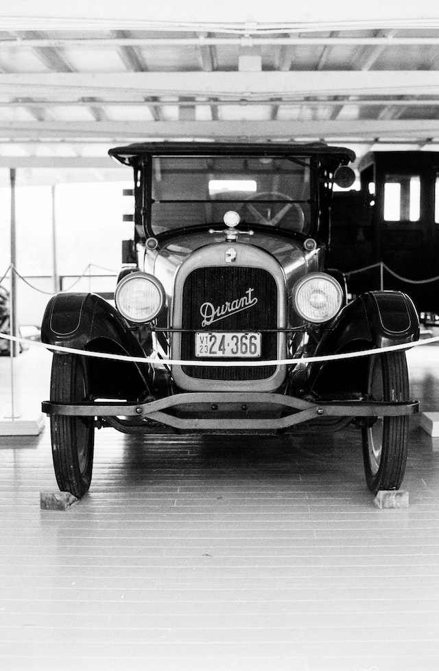 An old Durant car on the steamship Ticonderoga at the Shelburne Museum, Vermont.