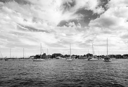 Boats on Chesapeake Bay in Annapolis, Maryland.