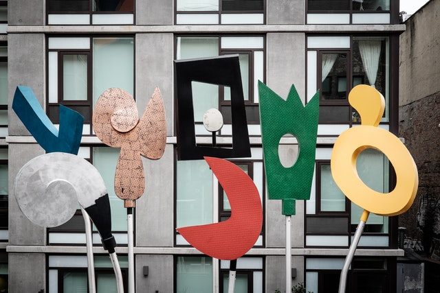 A colorful sculpture along the High Line.