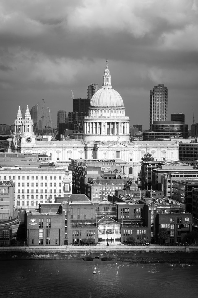 St. Paul's Cathedral, from the observation deck of Tate Modern.