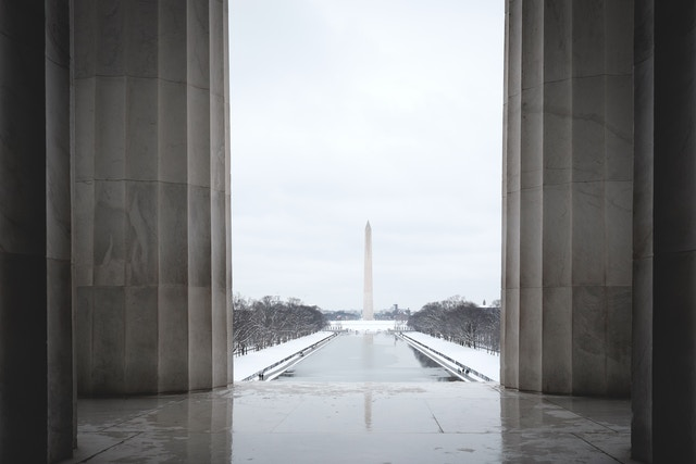 The Washington Monument from the Lincoln Memorial.