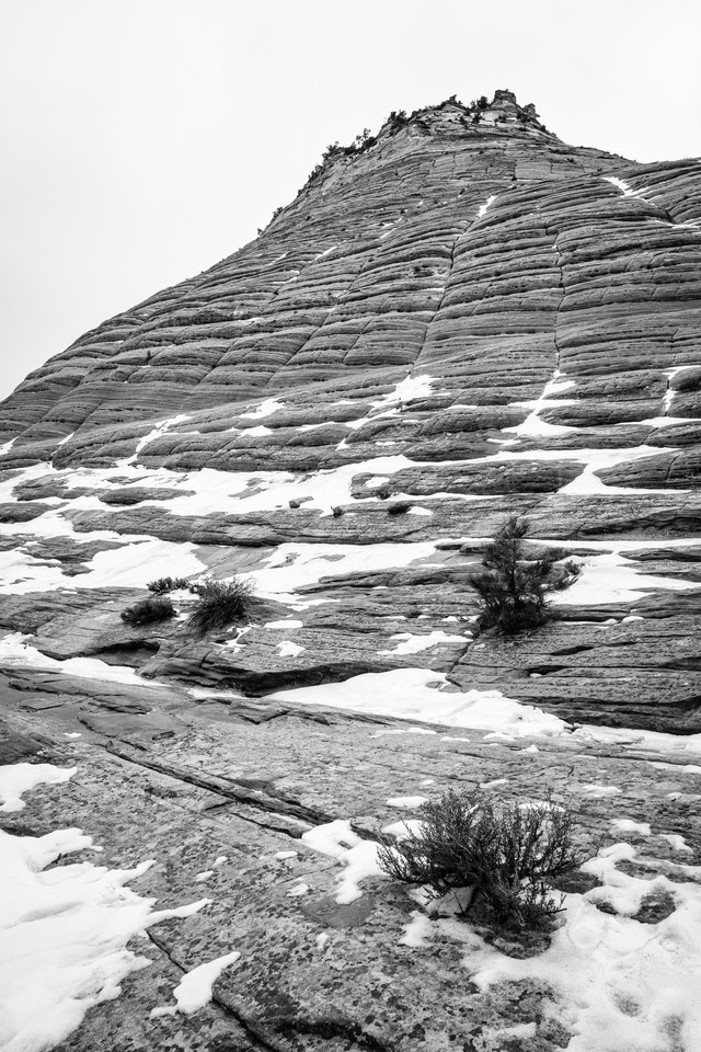 Checkerboard Mesa, with its characteristic checkerboard pattern partially covered in snow.