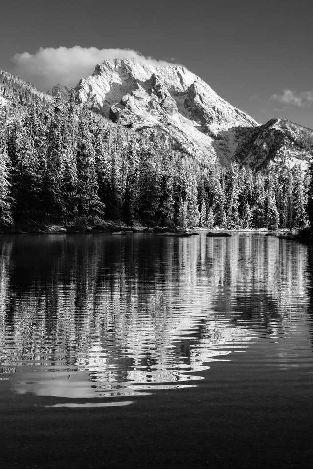 Mount Moran reflected off the surface of String Lake.