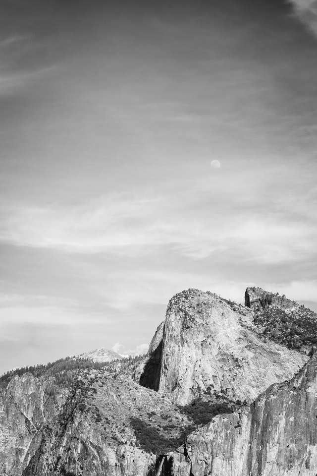 The Cathedral Rocks at Yosemite National Park, from the Tunnel View overlook.