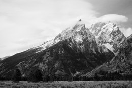 Teewinot Mountain, Mount Owen, and Grand Teton, from the Cathedral Group Turnout.