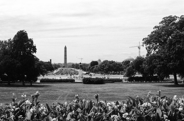 The National Mall, seen from the West Front of the United States Capitol.