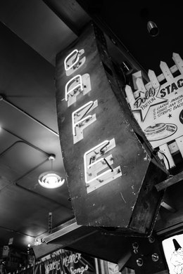 A cafe sign inside Easy Street Records in Seattle.