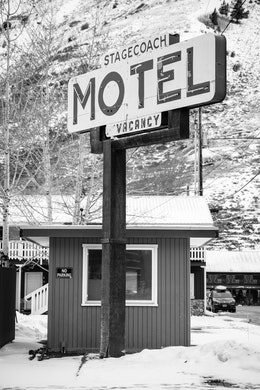 A sign at the Stagecoach Motel in Jackson, Wyoming.