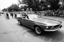 Three Park Rangers riding on a Mustang at the Independence Day Parade in Washington, DC.