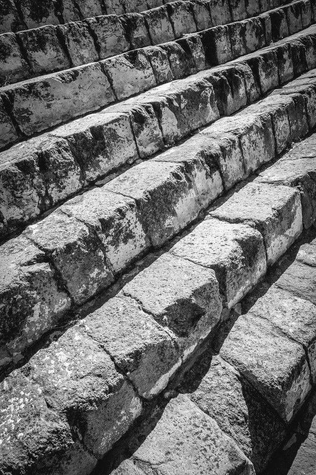 The steps on the Pyramid of the Sun in Teotihuacán.