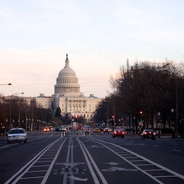Pennsylvania Avenue and the United States Capitol.