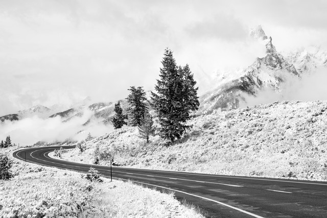 A curve on the inner park road after an early autumn snowfall. In the background, Teewinot Mountain shrouded in clouds.