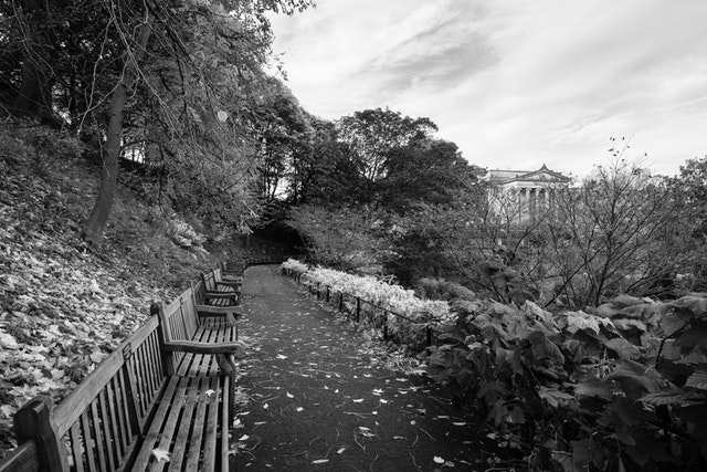 A row of benches at Princes Street Gardens in Edinburgh, with the Scottish National Gallery in the background.