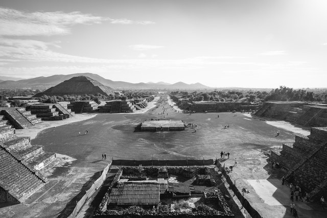 """The """"Calzada de los Muertos"""" (Avenue of the Dead) from the top of the Pyramid of the Moon in Teotihuacán."""