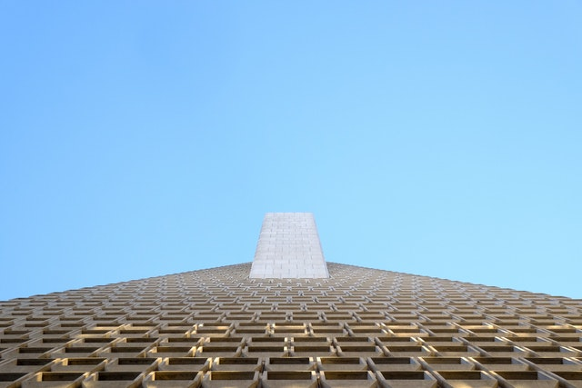 Looking up at the Transamerica Pyramid in San Francisco.
