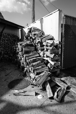 A pile of wood behind Sugar's Ribs in Chattanooga.