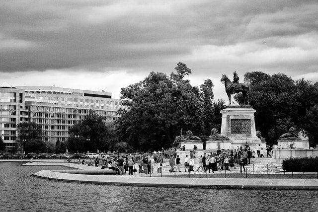 The U.S. Grant Memorial and Capitol Reflecting Pool.