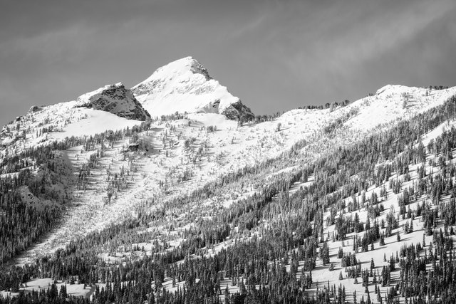 A peak in the Teton range, with its slopes covered in snow and trees.
