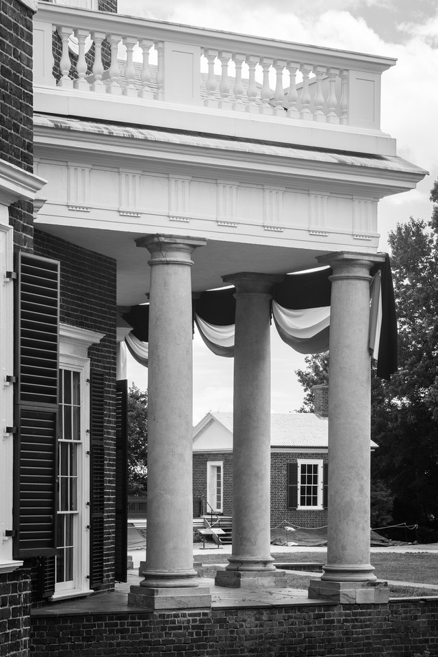 Columns on the back portico of Thomas Jefferson's Monticello, in Virginia.