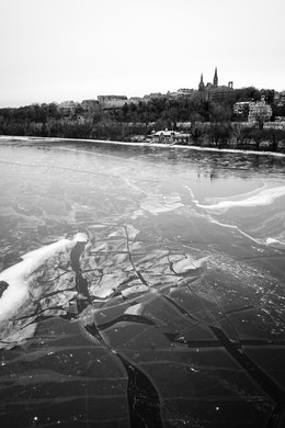 Georgetown University, and a very frozen Potomac River, from the Key Bridge.