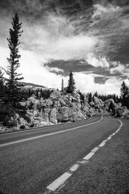 A winding road in the Hoodoos, Yellowstone National Park.