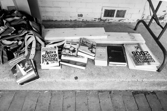 Use books on the curb in front of Capitol Hill Books.