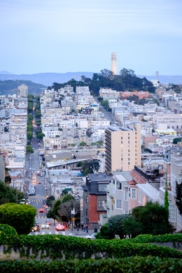 Telegraph Hill at dusk, from Lombard Street.