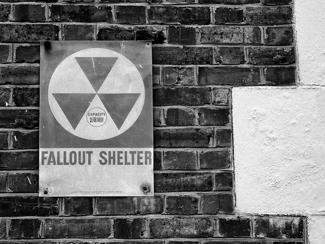 Fallout shelter sign at the Cavalier Hotel in Virginia Beach.