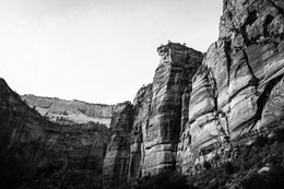 The walls of the ZIon canyon, with Touchstone Wall seen in the foreground.