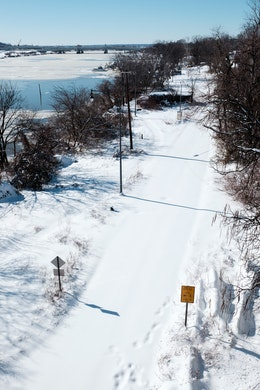 The Anacostia River Trail, covered in snow.