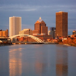 The Rochester skyline at sunset.