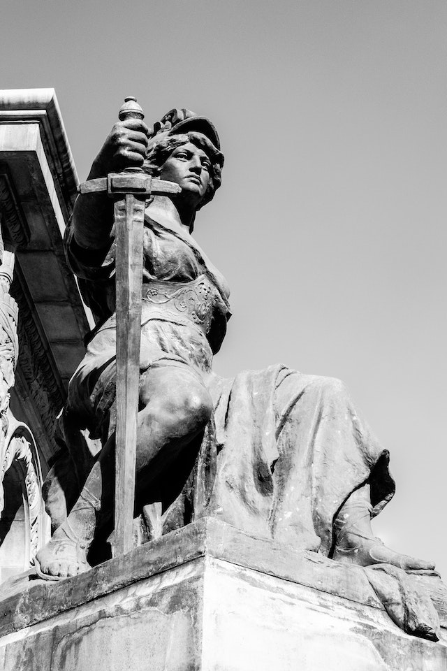 One of the statues at the Angel of Independence in Mexico City.