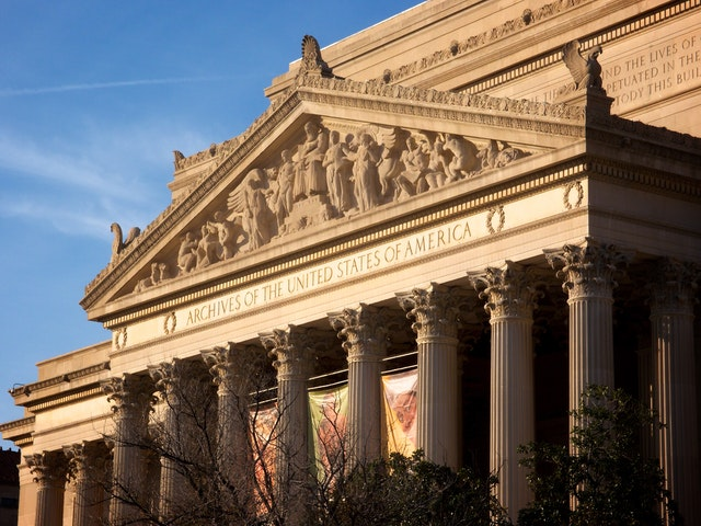 The National Archives building.
