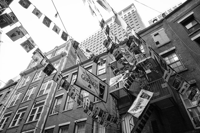 St. Patrick's Day banners hanging above Stone Street.