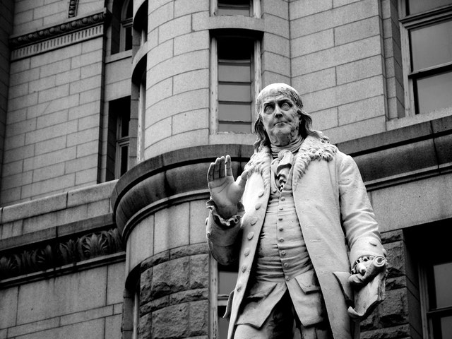 Ben Franklin in front of the Old Post Office.