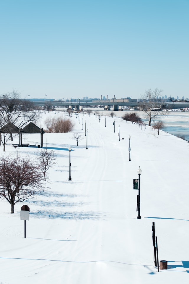 Anacostia Park in Washington, DC, covered in snow.