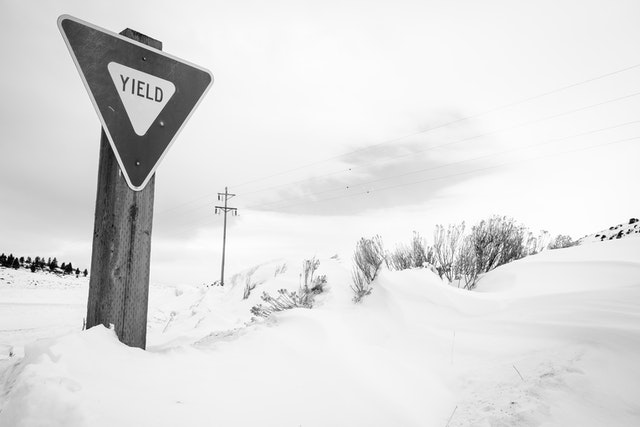 A yield sign in the snow, at the National Elk Refuge.