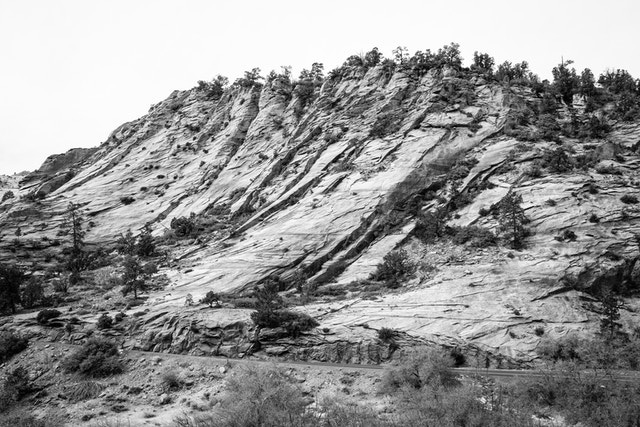 A rocky butte on the side of the Zion-Mount Carmel Highway.