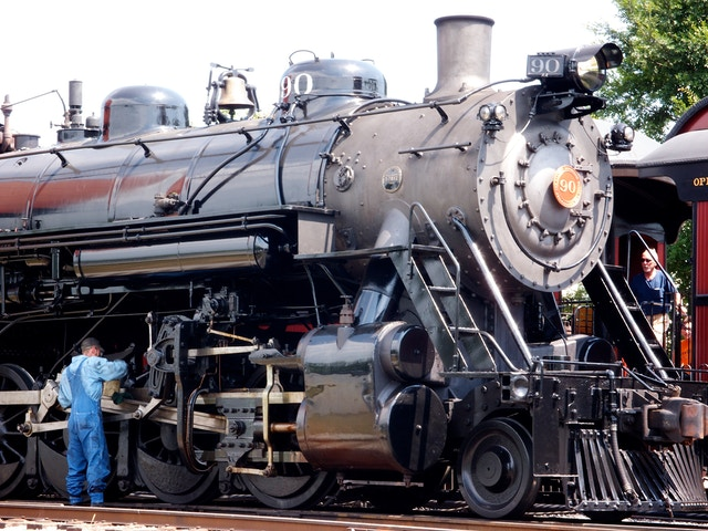 An engineer inspects a locomotive at the Strasburg Railroad, in Lancaster county, PA.